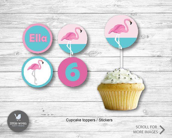 Flamingo Party Invitation flamingo Birthday Ideas cupcake topper sticker party bag tags