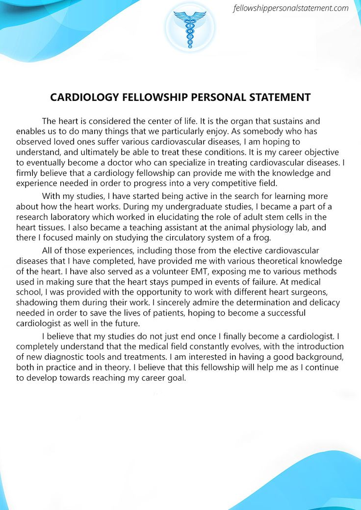 Cardiology Fellowship Might Be The One Of Your Dreams Getting Accepted Into The Program You Will H Personal Statement Letter Of Recommendation Letter Example