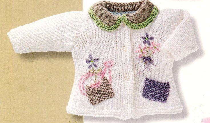 Baby Cardigan Flower Garden Motif Patch Pockets Aran 0 -4 yrs Knitting Pattern   Crafts, Needlecrafts & Yarn, Crocheting & Knitting   eBay!