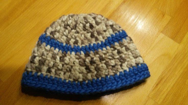 Mütze Handarbeit aus Handgesponnener Wolle KU ca 46 cm