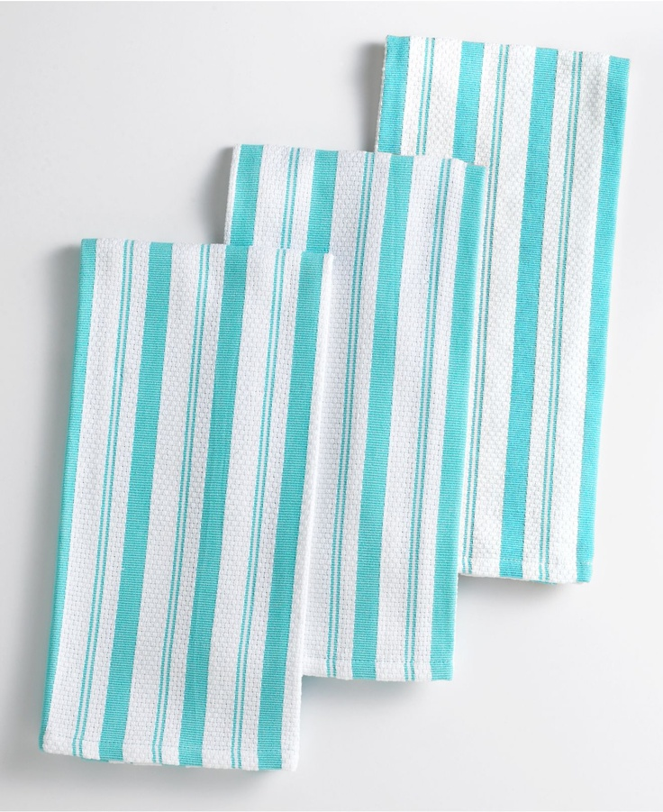 Martha Stewart Kitchen Towels: Martha Stewart Collection Basket Weave Aqua-Striped
