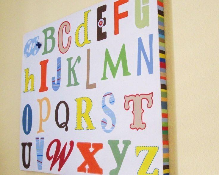 Bright ABC's Canvas Nursery Kids Wall Art by CuteAsAButtonArt