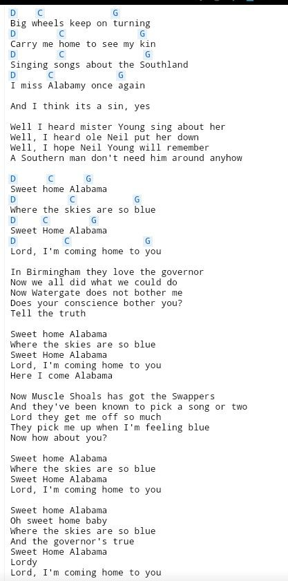 190 best chords images on pinterest music songs and wool for Who sang the song sweet home alabama