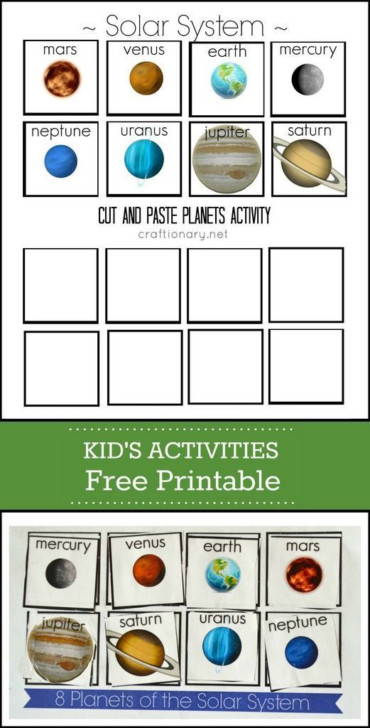 Planets free printable cut and paste activity for kids. Introducing Solar System!