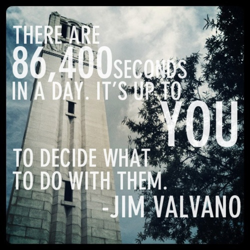 seconds in a day  86,400  what to do with them  jim valvano quote
