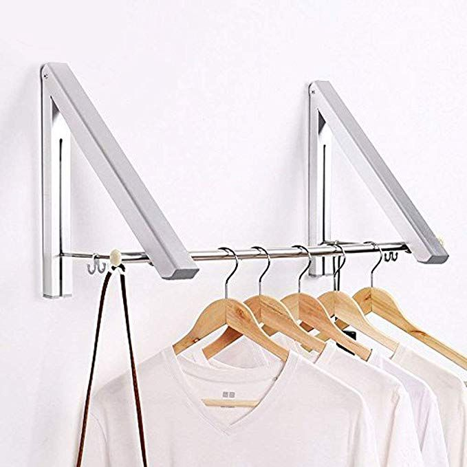 Amazon Com Srhome Indoor Outdoor Wall Mounted Folding Clothes Drying Rack Clothes Hanger Folding Clothes Drying Rack Clothes Hanger Rack Drying Rack Laundry