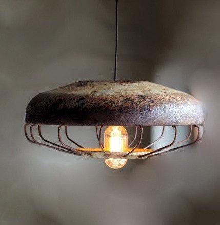 Vintage Farmhouse Lighting Pendant Lamp Extra Large Caged Light En Feeder
