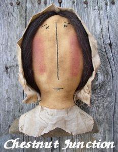 Mrs. Pilgrim primitive Thanksgiving doll pattern & epattern by Chestnut Junction.
