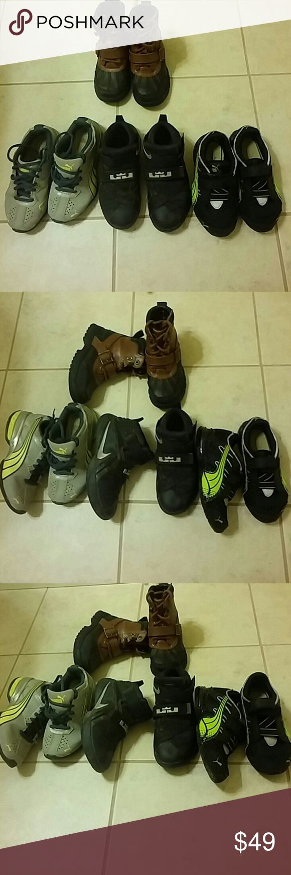 Boys bundle All good condition to fair Black lebrons sz 12c  Grey puma sz 12.5 Blk puma sz 11 Polo ralph lauren boots sz 11 Can also seperate  Can post more pics too. Shoes Sneakers