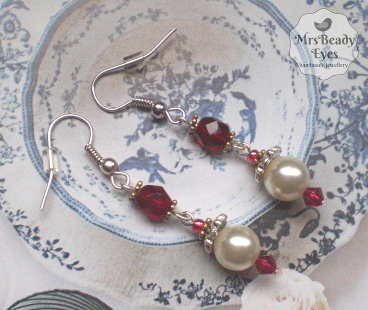 Cream pearl earrings Victorian bridal earrings Red white bridal earrings Boho bridal earrings Boho pearl earrings Boho crystal earrings by MrsBeadyEyes on Etsy
