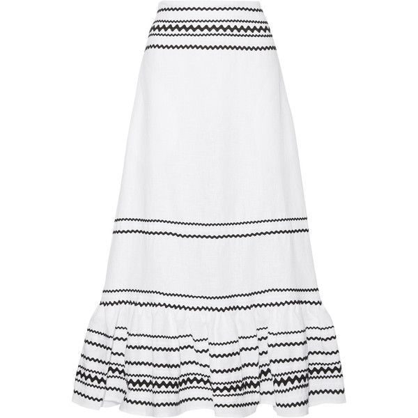 Lisa Marie Fernandez Fiesta rickrack-trimmed ruffled linen maxi skirt ($1,185) ❤ liked on Polyvore featuring skirts, ruffled skirts, floor length skirt, white ruffle skirt, white skirt and long white ruffle skirt