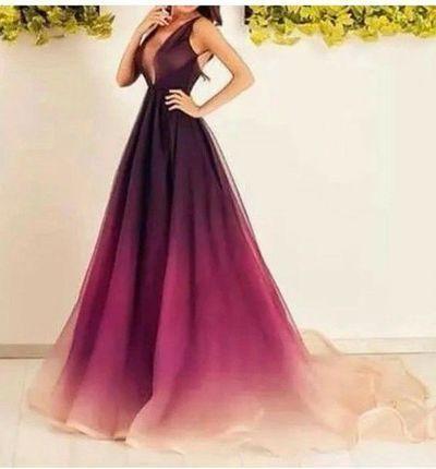 Gradient purple Prom Dresses,A-line prom dress,long prom Dress,formal prom dress,new arrive evening dress