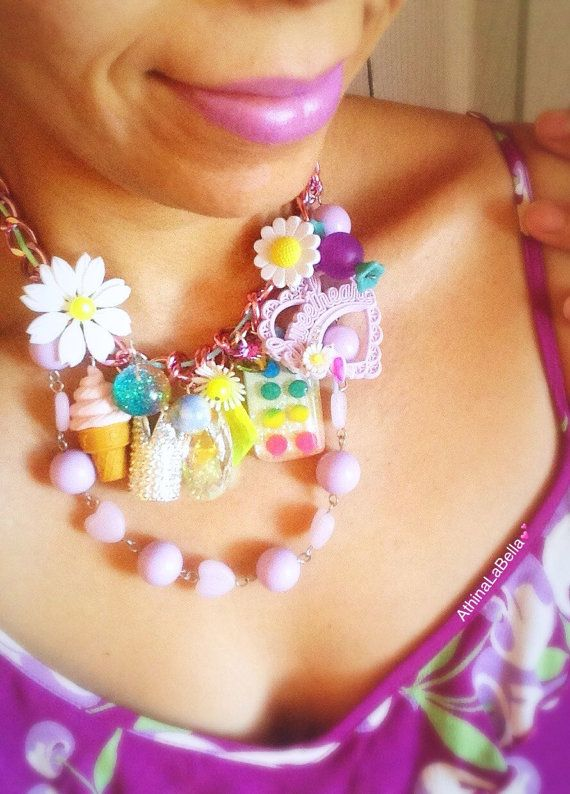 Daisy Charm Necklace Unicorn Necklace Modern by AthinaLaBella