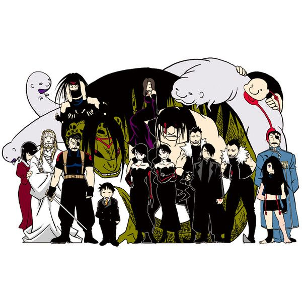 dante (fullmetal alchemist) dual persona envy (fma) everyone father... ❤ liked on Polyvore featuring anime and fma