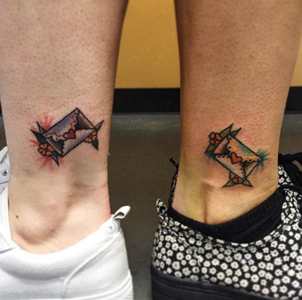 Best friend envelop tattoos by Grace LaMorte