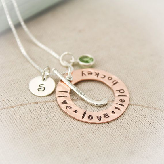 Field Hockey Charm Necklace Copper Washer and Sterling Silver Personalized Hand Stamped Necklace