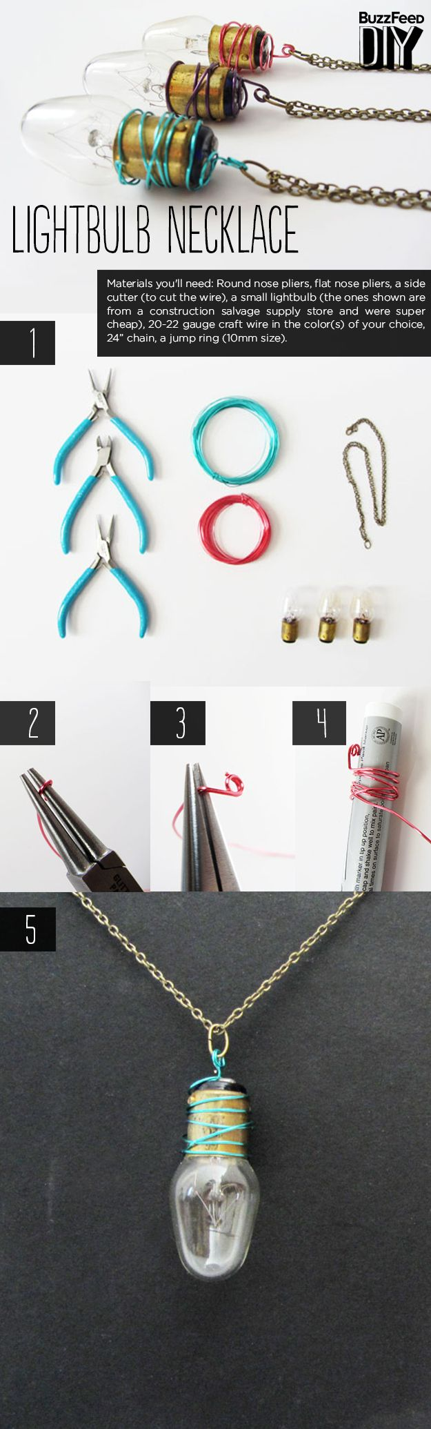 creates a lightbulb necklace.   3 Crazy Things To Do With Old Lightbulbs