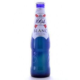 """<p>A blue bottle, huh? That's a new one. Leave it to the French to go all """"avant-garde"""" with their beer bottles. In any case, 1664 Blanc, as you might suspect, is brewed in the style of a Belgian witbier, or white beer. It certainly looks the part in the glass, with a hazy straw color and a crisp head of white foam. We quite enjoyed the aroma on this one, which comes across softly fruity, with a distinct peachy stone fruit note that is very unique even for a white beer...</p>"""
