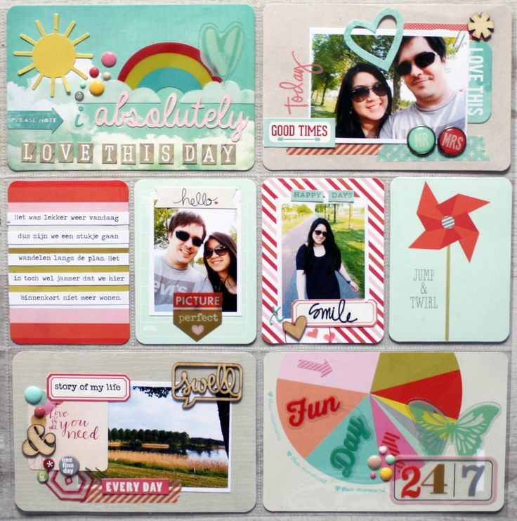 a rainbow colour page. Smaller rectangle photos on one page.