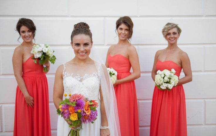 Our gorgeous bride Lucy wearing her customized #Grace dress with her bridesmaids wearing the #Georgia dress in Ember by Sally Eagle. Photo Credit: Jo Moore photography #wedding #sallyeaglebridal #bride #vintage #beadedlace #bridesmaids #darkcoral #straplessbridesmaids