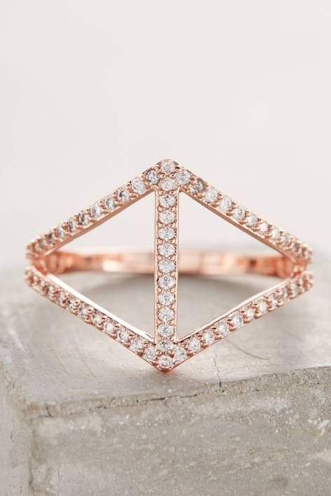 Pave Chevron Ring in Rose Gold