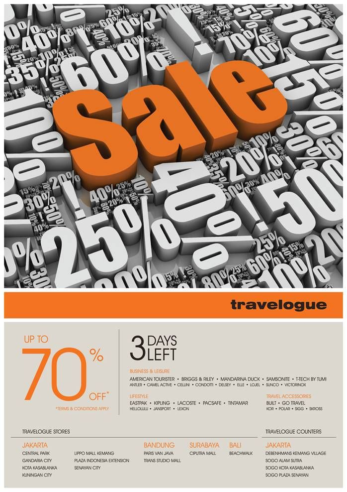 Travelogue SALE starts NOW! Up to 70% off