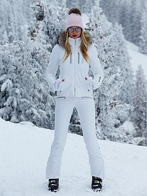 Elsa Hosk in a White Bogner 2-Piece Ski Suit