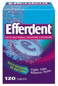 Efferdent Denture Cleanser, 120-Count Tablets (Pack of 3) by Efferdent. Save 32 Off!. $21.19. Dissolves tough stains in hard to reach places.. Kills the bacteria that cause denture odor.. Reduces plaque build-up and removes food particles that cause gum irritation.. Efferdent kills 99.9% of odor causing germs in one soak; significantly more than brushing alone. Efferdent reduces plaque buildup and removes food particles that can cause gum irritation.