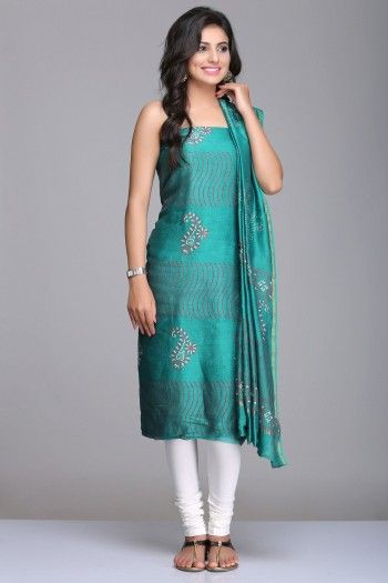Turquoise Green Unstitched Chanderi Suit With Striped & Paisley Hand Block Print And Gold Zari Border