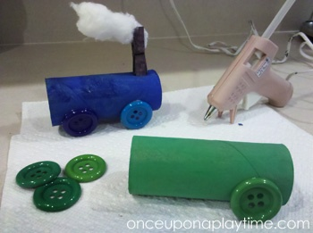 """Simple train craft idea. Modify for kids by using elmers glue, pom pom wheels, and pipe cleaner smoke stacks. What a fun way to play after doing your Practickle Reading for the Little Engine That Could. Source for image only link: Once upon a play time www.practickle.com Literacy is a """"hoot"""""""
