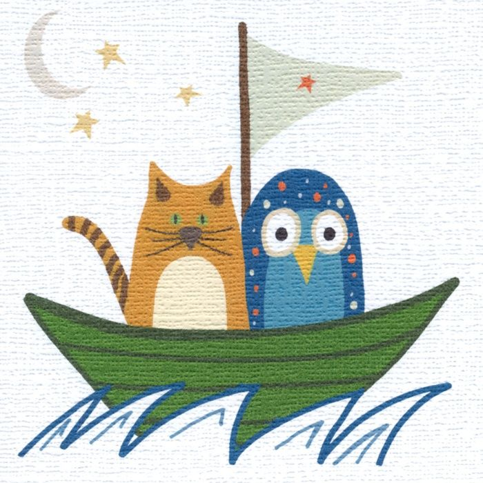 """""""The Owl and the Pussycat"""" Great card for a wedding, engagement or for someone moving on. Blank inside"""