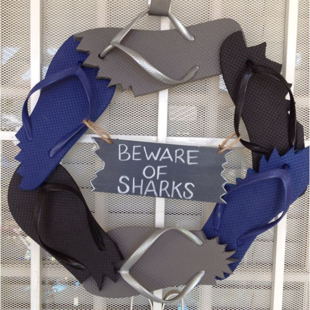 Shark party wreath.