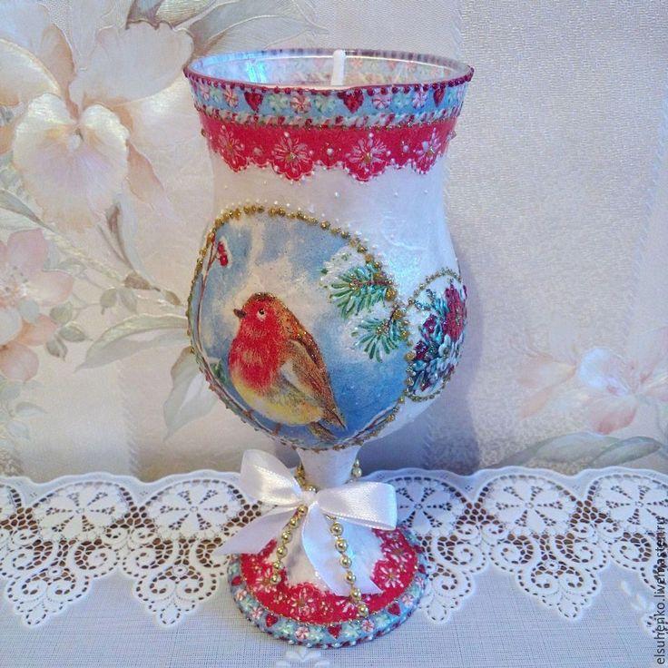 Купить или заказать Подсвечник 'Зимняя птица' в интернет-магазине на Ярмарке Мастеров.