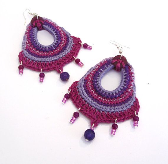 Cotton yarn crochet earrings, big, fuchsia, purple, violet, pink, beads, long, drop, boho, folk, romantic
