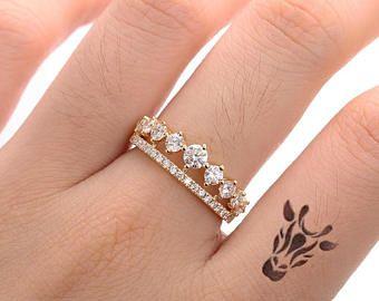 Einzigartige Cluster Engagement Ring für immer ein Moissanite Krone Doppel Ehering Frauen Braut Schmuck Stapeln Versprechen Tiara Jahrestag Geschenk