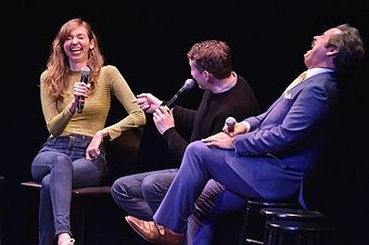 Lauren Lapkus, Scott Aukerman and Paul F. Tompkins perform on stage at the Comedy Bang! Bang! at BAM presented by Vulture Festival on May 20, 2017 in New York City.