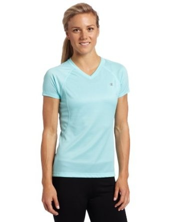 Champion Women's Training Tee. I love to wear this shirt to workout at the gym. The only time I don't is when I take yoga because it rides up. Otherwise this shirt is true to size, does not shrink when washed, and very comfy. I actually own two in different colors. - Click picture for Description and other picture! $11.90 from Amazon