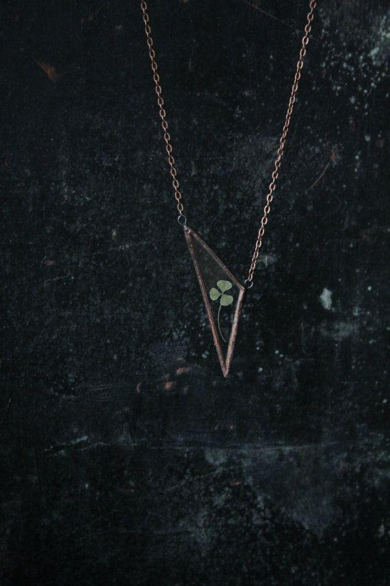 Triangle herbarium glass pendant. Stained glass necklace. Boho jewelry…