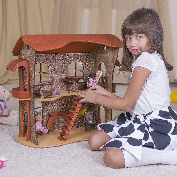 "Wooden dollhouse handmade ""Dwarf's Housing"" - may be the best gift for little girl. Or big girl. wooden dollhouse #woodendollhouse #dollhouse #dollshouse #ucreator"