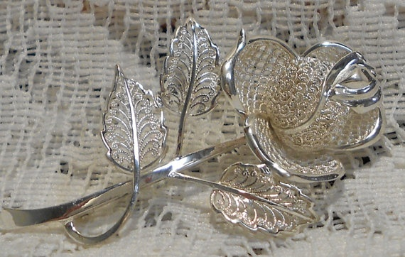 Vintage Sterling Silver Flower Brooch Made in Germany