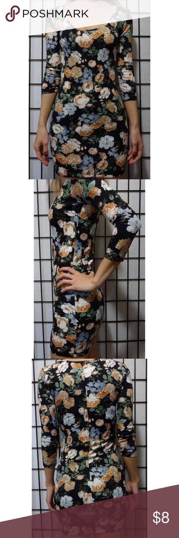 Floral Bodycon Dress Floral form fitting dress Forever 21 Dresses Long Sleeve