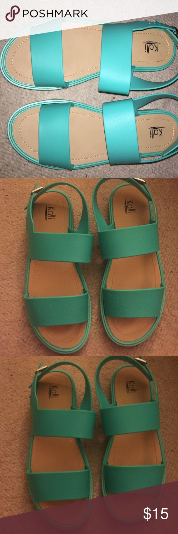Very cute mermaid green Sandals. Only worn once !! Urban Outfitters Shoes Sandals