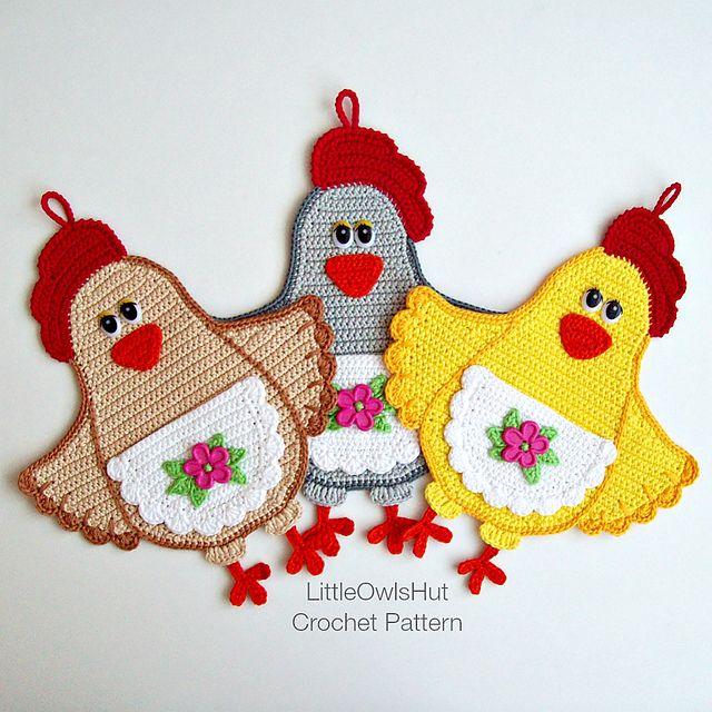 Ravelry: 067 Lady Chicken potholder pattern by LittleOwlsHut