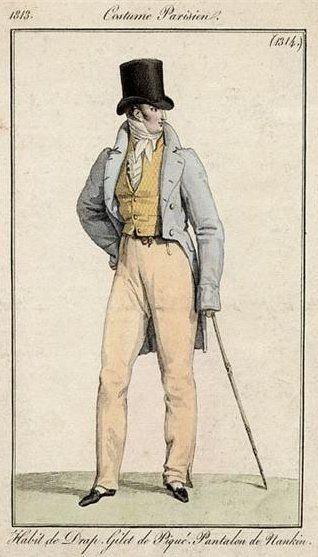 Men's ensemble with piqué vest and nankeen pantaloons, 1813.