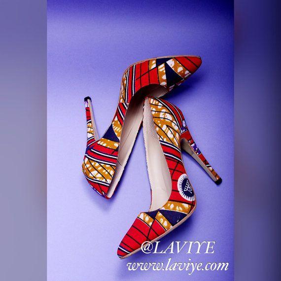 Red & blue Ankara African print fabric women's stiletto heels