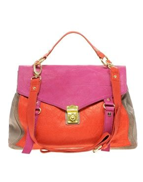 ASOS Leather Colour Block Satchel  $138.49: Asos Handbags,  Postbag, Mailbag, Style, Colorblock, Blocks Satchel, Asos Leather, Leather Colors, Colors Blocks
