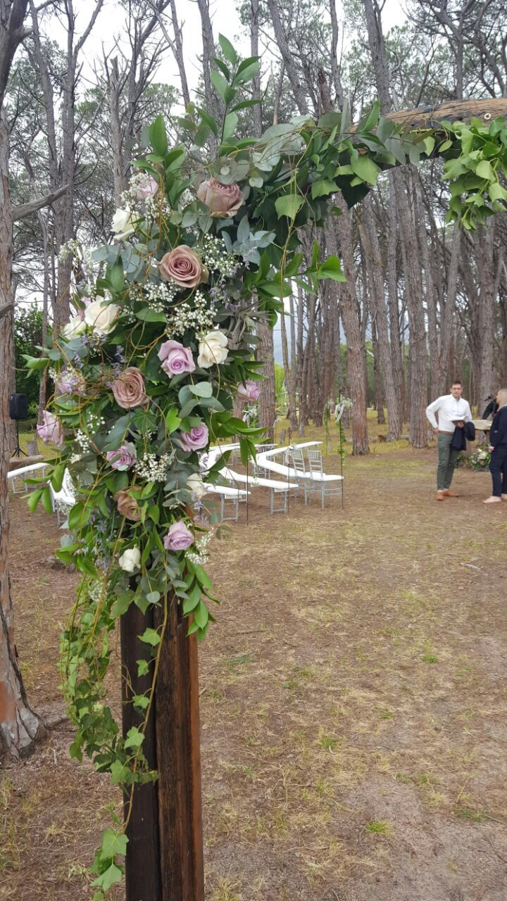 Wedding Ceremony Forest Door White benches Stone podium altar  Forest Weddings Wedding venue in Cape Town close to Stellenbosch Sunset wedding photography Ido #WineryRoadForest