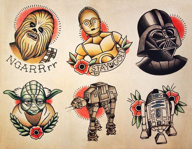 Star Wars Tattoo Flash by ParlorTattooPrints on Etsy. , via Etsy.
