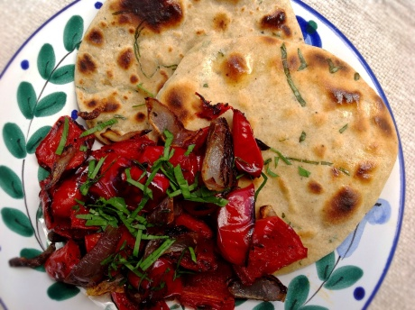 Flatbreads with Roasted Bell Peppers and Onions
