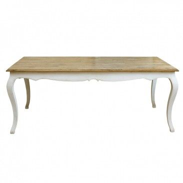 Provincial Oak Table 2000 x 1000mm Distressed White - Tables - Dining